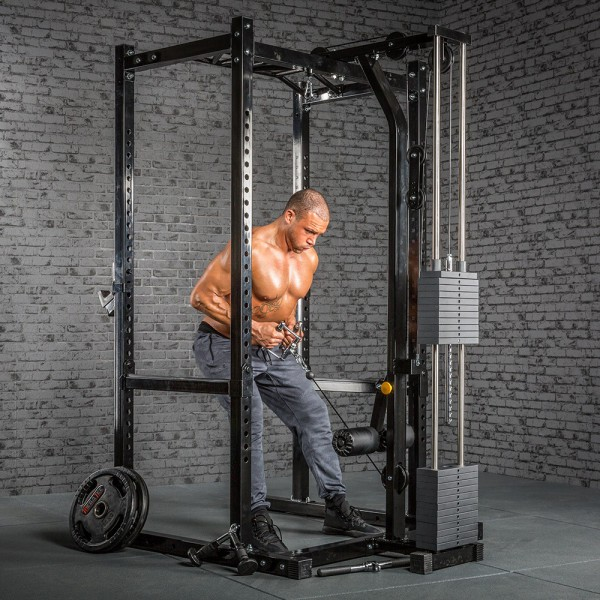 Power Rack mit Latzug - Stack Weight - Inklusive Klimmzug und Gewichtsturm