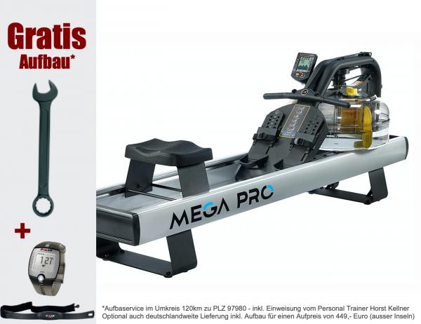 FluidRower MEGA PRO XL - Rudergerät mit Wasserantrieb