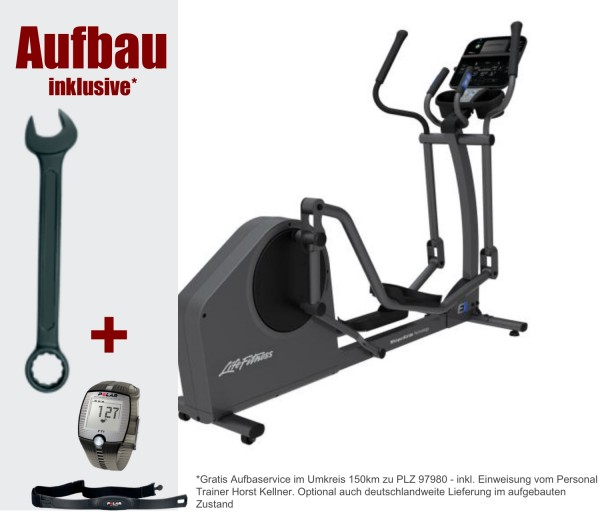 E1 Track Connect Crosstrainer. Aktuelles Modell von Life Fitness. Polar Pulsuhr FT1 und Matte
