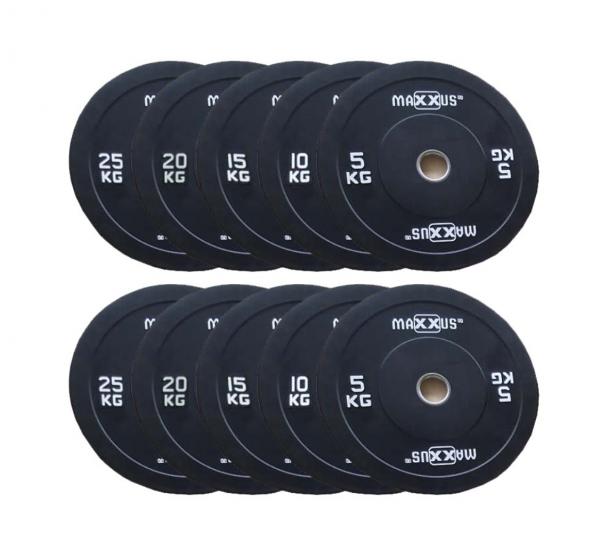 150kg gummierte Profi-Hantelscheiben 50mm. Bumper Plates