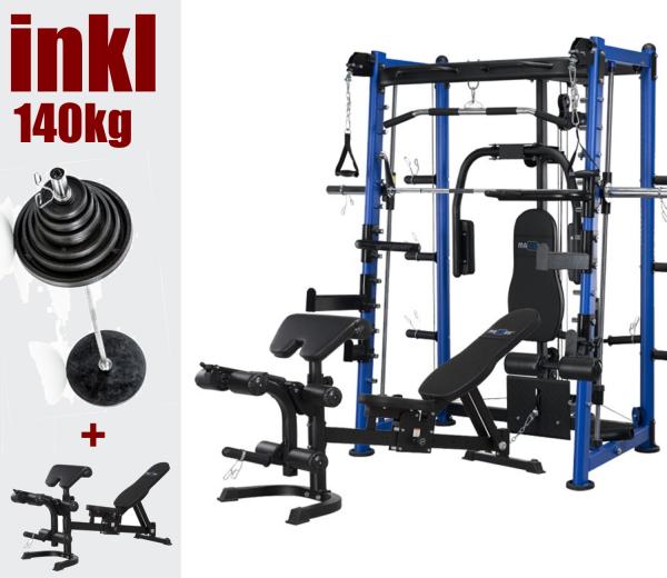 9.1 Fitness Station inkl. 140kg Langhantelstange.. Kugelgelagerte Drückeinheit, mit oberem Doppelzug