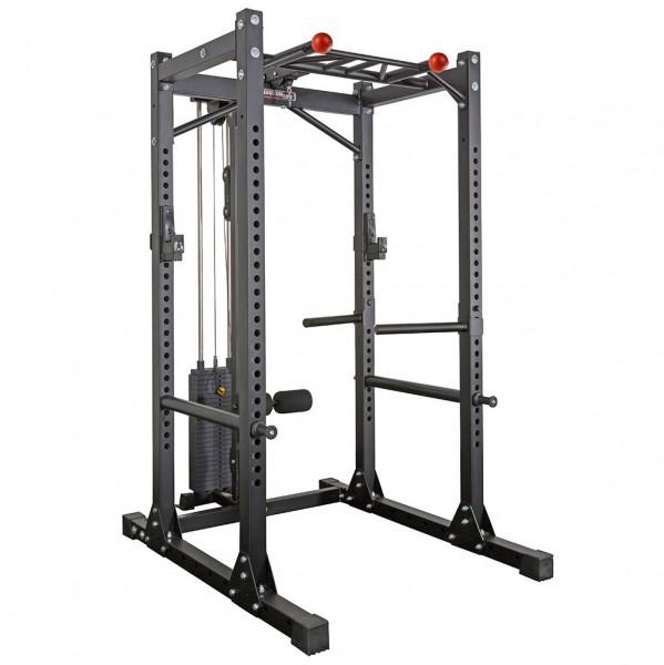 Power Cage mit Latzug-Steckgewichte 125 kg. Hochwertiges Rack